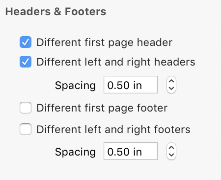 Headers & Footers Inspector Pane