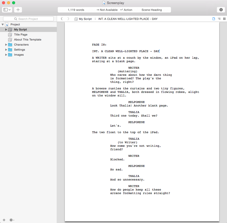 Shooting script format for Microsoft word screenplay template