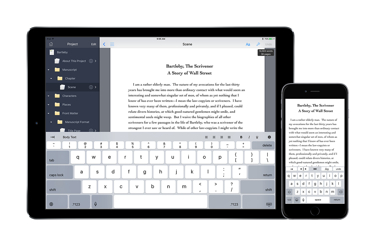 Scrivener support in Storyist 3.1 for iOS
